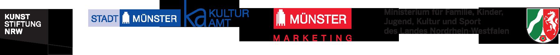 Logos: Kunststiftung NRW | Stadt Münster Kulturamt | Münster Marketing | Ministerium für Familie, Kinder, Jugend, Kultur und Sport des Landes NRW