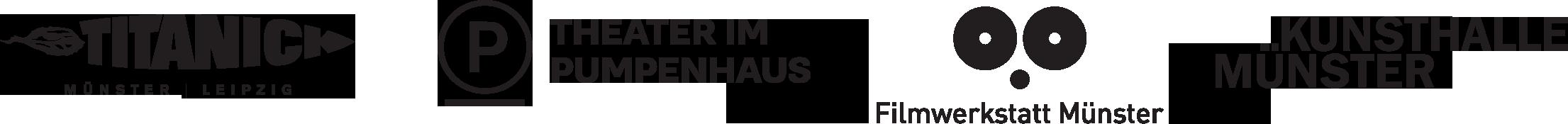 Logos: Theater Titanick | Theater im Pumpenhaus | Filmwerkstatt Münster | Kunsthalle Münster