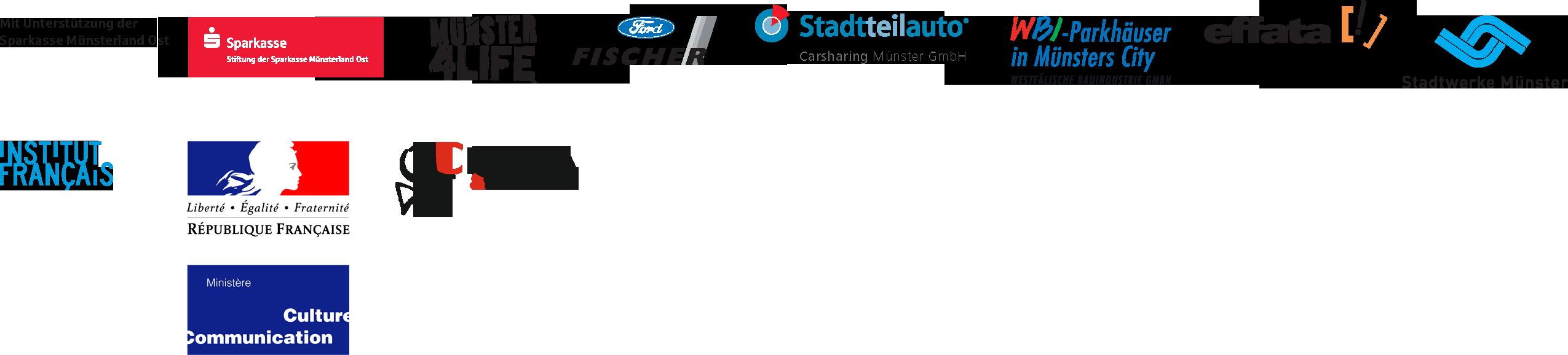 Logos: Stiftung der Sparkasse Münsterland Ost | Münster4Life | Ford Fischer | Stadtteilauto | Westfälische Bauindustrie GmbH | effata [!] | Stadtwerke Münster | Institut Français | République Française, Ministère Culture Communication